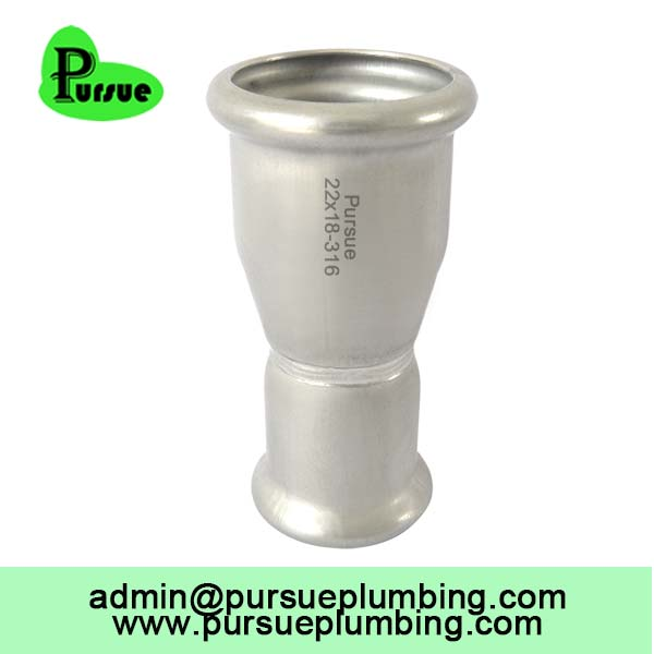 Reducing coupling A high quality sanitary inox hydrolic M profile plumbing water gas oil stainless steel press fitting